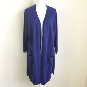 Talbots Open Front Cardigan Sweater Duster Pockets